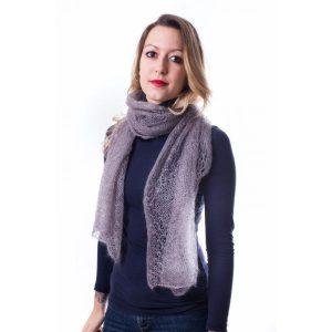 echarpe-chevron-kit tricoté en laine mohair et soie