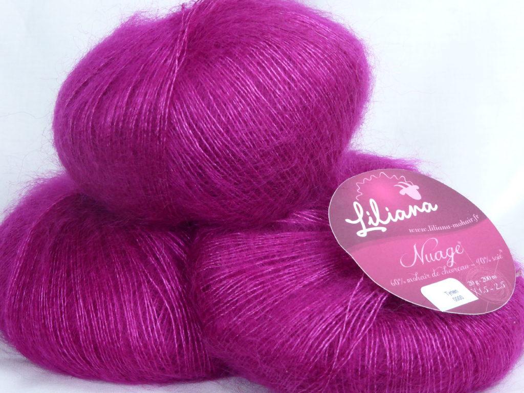 Fil à tricoter mohair et soie fushia