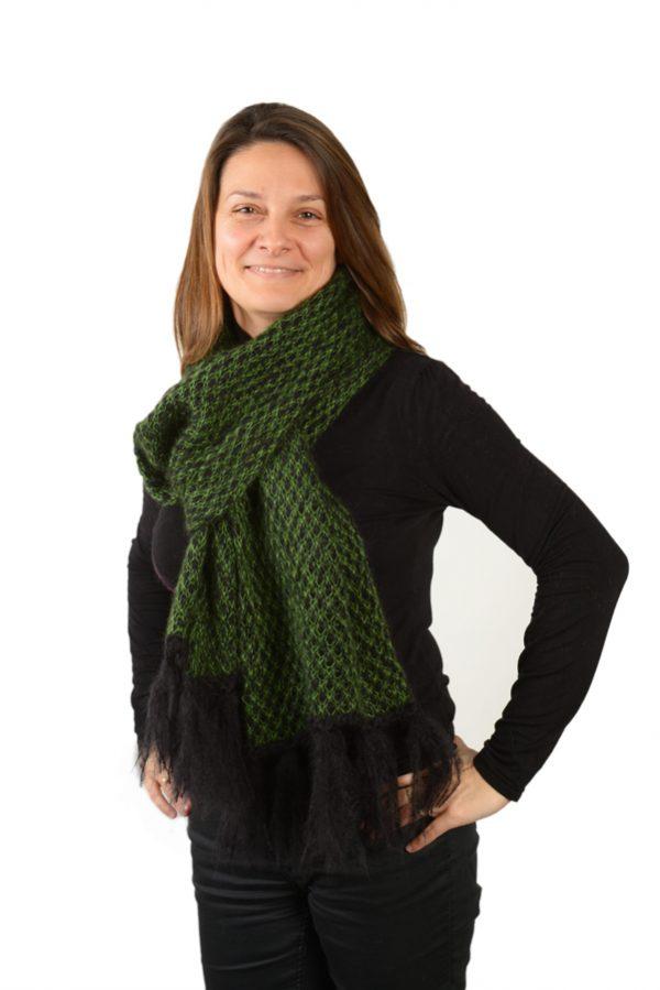 Écharpe femme mohair et soie verte à motifs