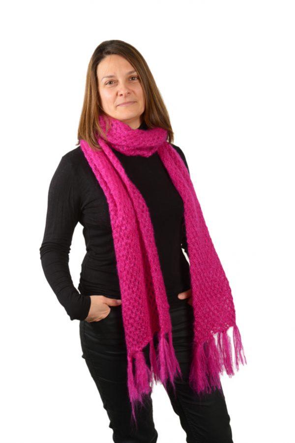 Écharpe franges femme mohair rose nouée