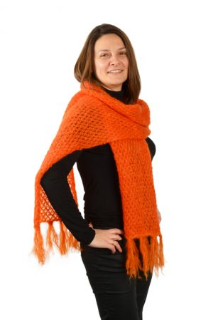 Écharpe franges femme mohair orange