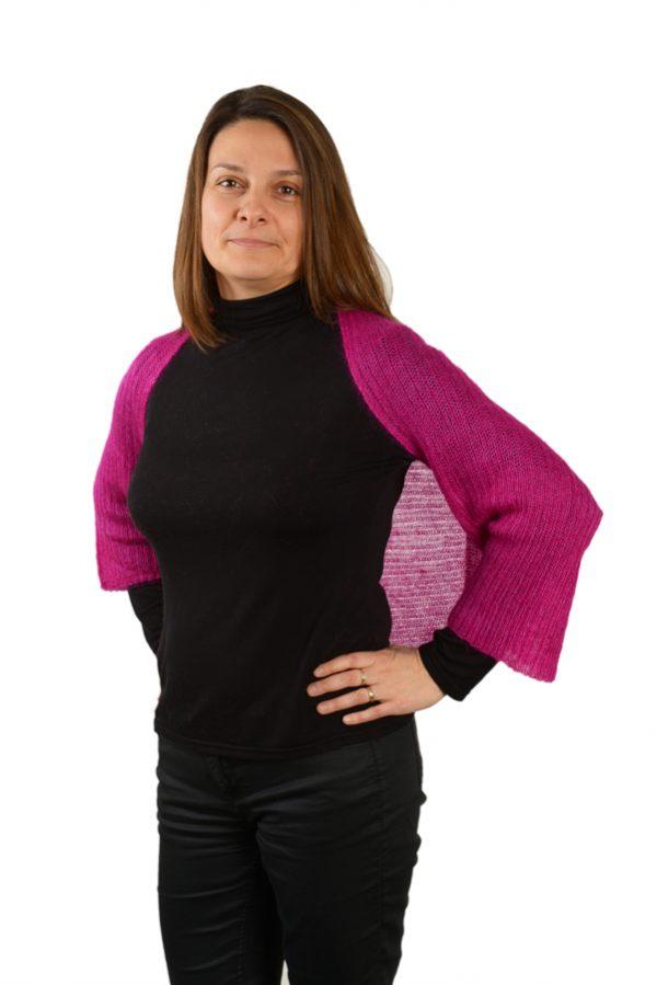 bolero femme tricotee mohair rose devant