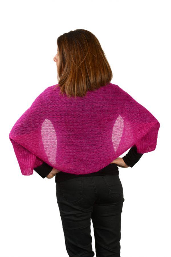 bolero femme tricotee mohair rose dos