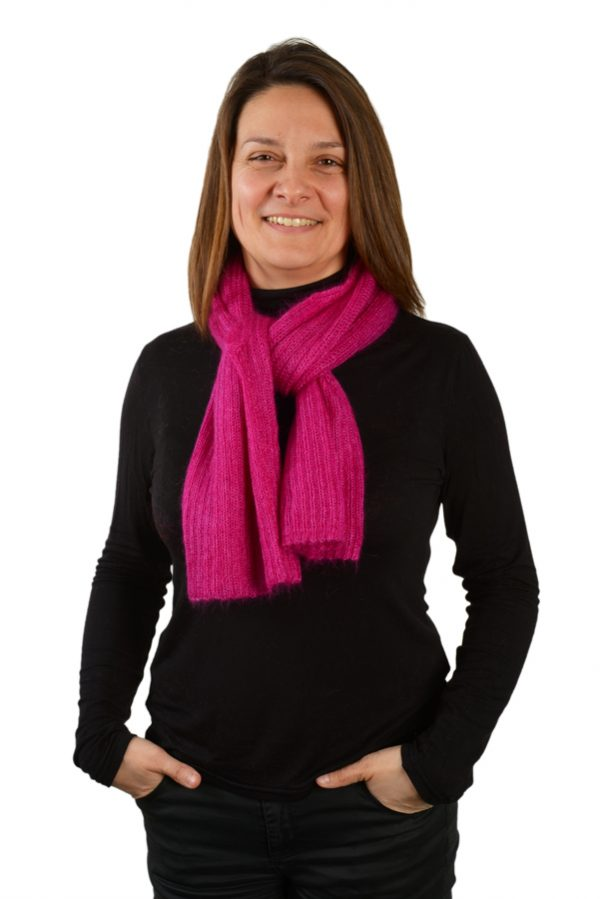 bolero facon petite echarpe femme tricotee mohair rose