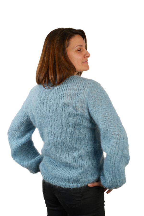 Pull col v femme mohair bleu pastel dos