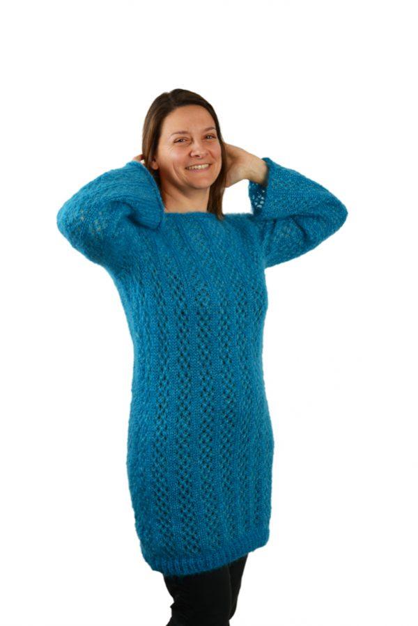 Robe pull tricotee mohair et soie femme bleu