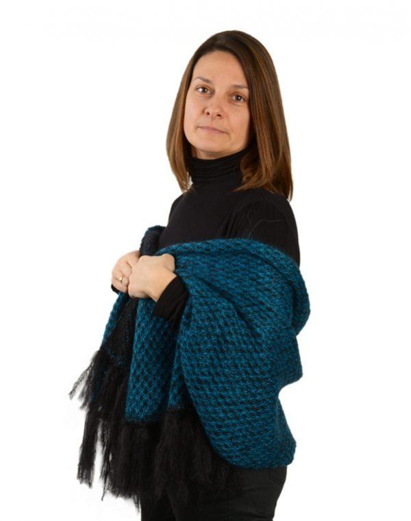 echarpe mohair franges femme bleu à motifs
