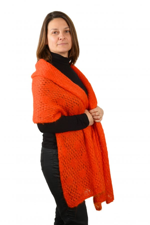 Étole mohair franges orange citrouille femme tricoté cote
