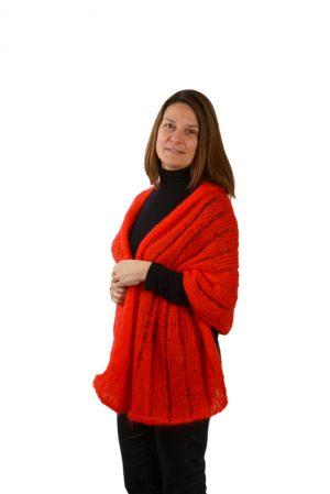 Étole mohair femme rouge écarlate