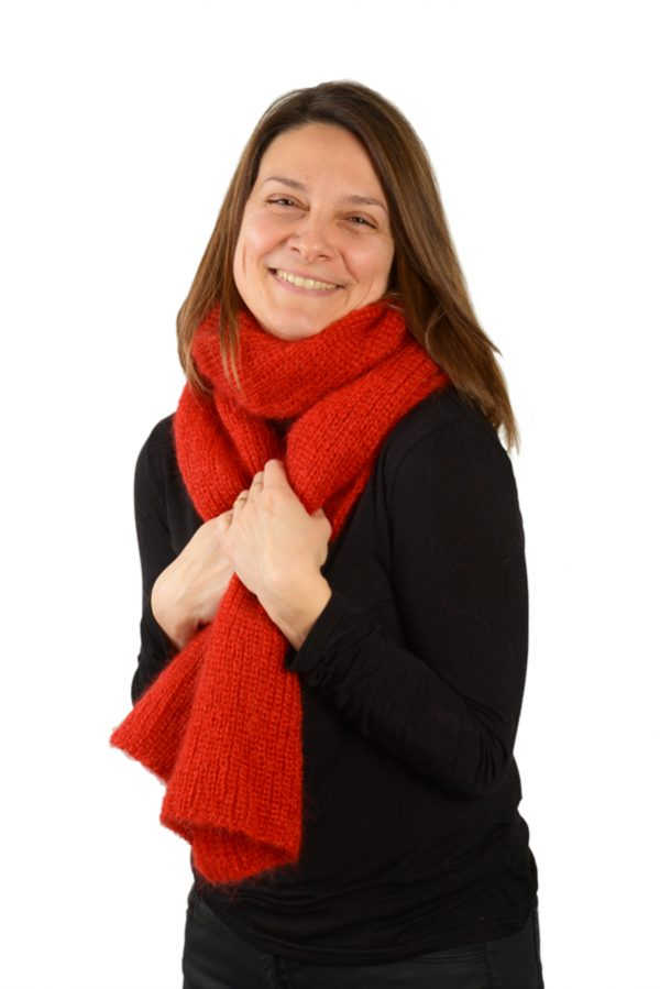 Écharpe mohair soie femme rouge grenade prestige