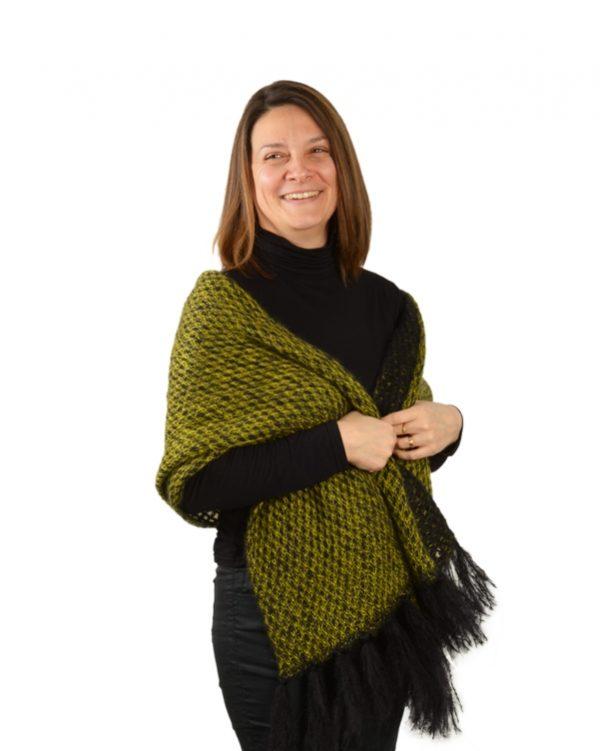 echarpe mohair franges femme verte à motifs