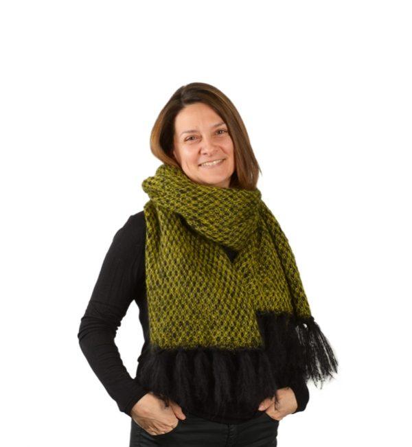 echarpe mohair franges femme verte à motifs nouée