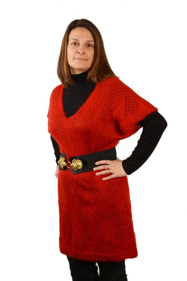 Robe pull col v femme mohair et soie tricotee rouge