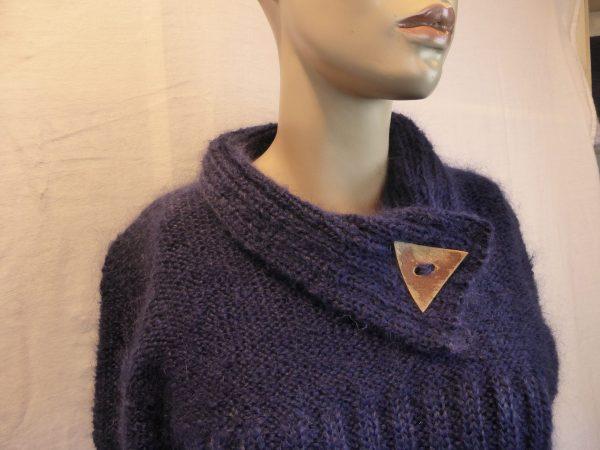 pull femme laine mohair avec col bouton