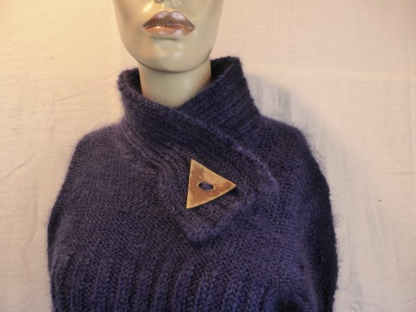 pull femme pur mohair avec col bouton